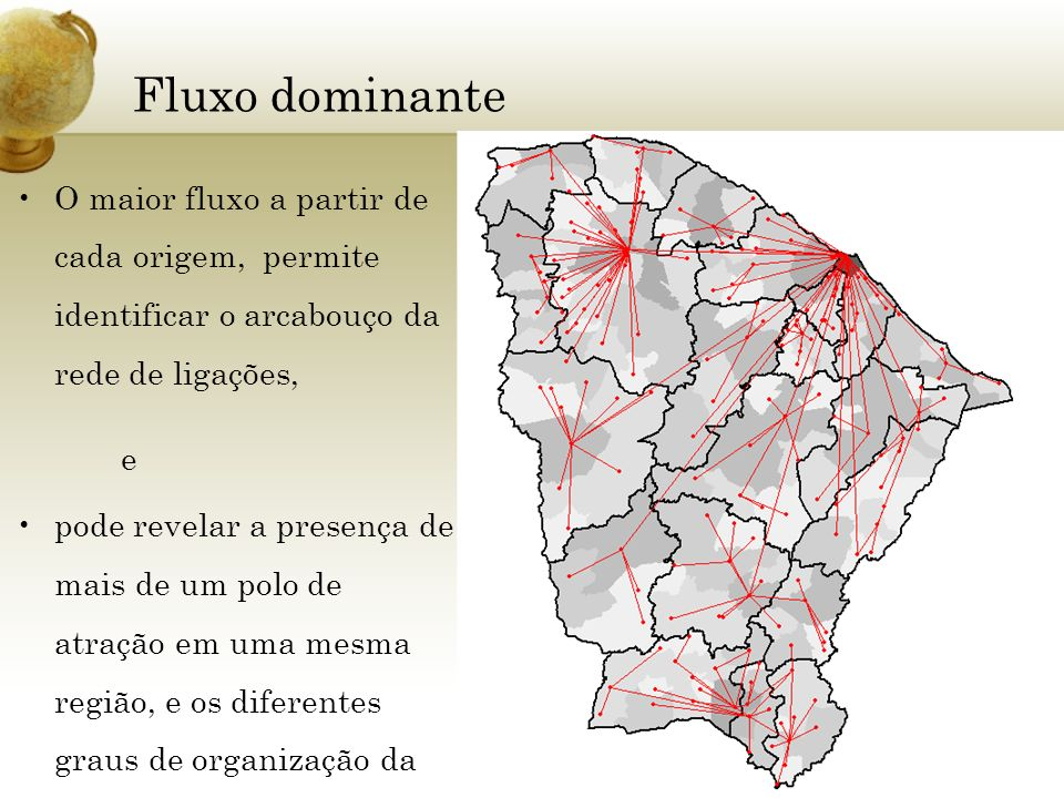 Fluxo dominanteO maior fluxo a partir de cada origem, permite identificar o arcabouço da rede de ligações,