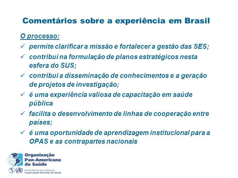 Comentários sobre a experiência em Brasil