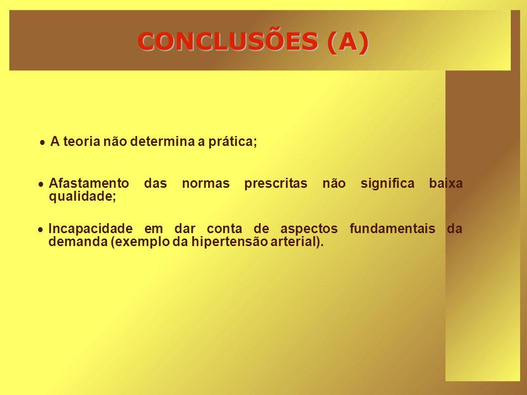 CONCLUSÕES (A) A teoria não determina a prática;