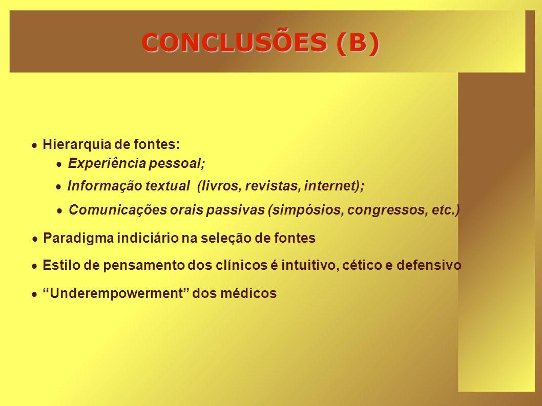CONCLUSÕES (B) Hierarquia de fontes: Experiência pessoal;