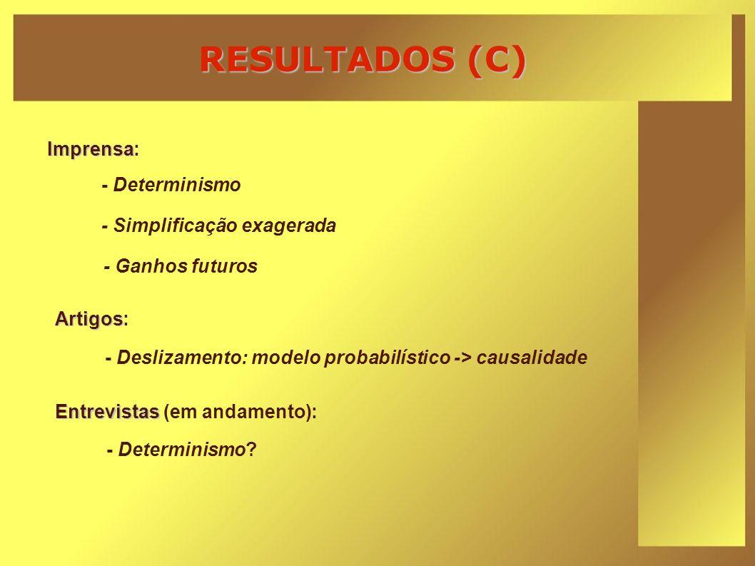 RESULTADOS (C) Imprensa: - Determinismo - Simplificação exagerada