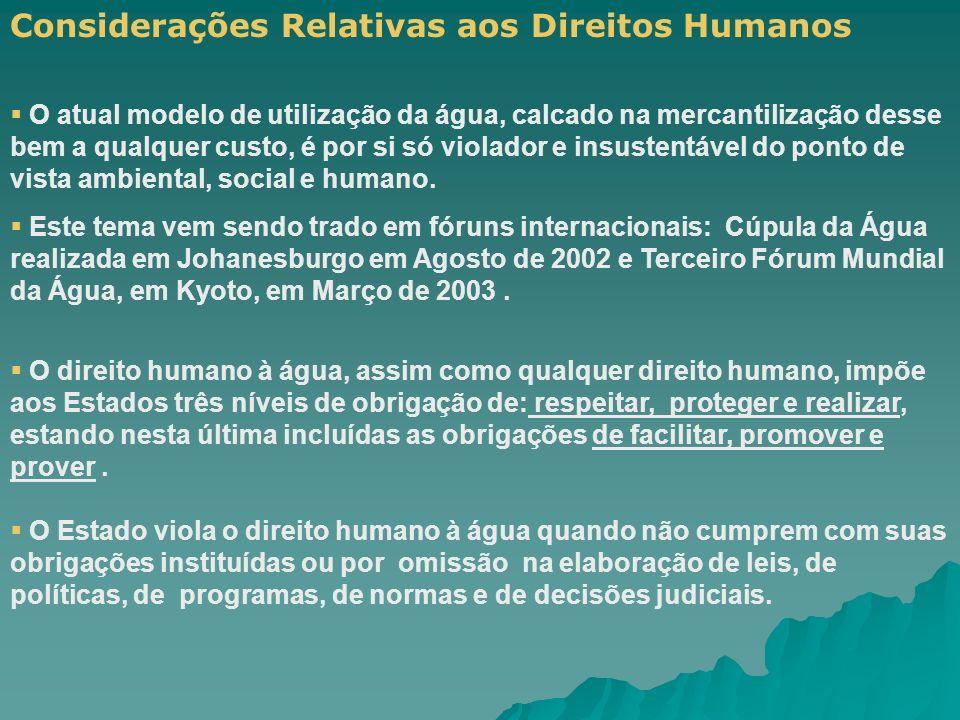 Considerações Relativas aos Direitos Humanos