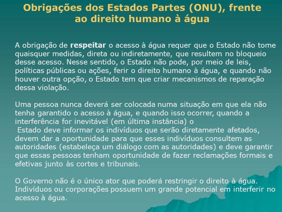 Obrigações dos Estados Partes (ONU), frente ao direito humano à água