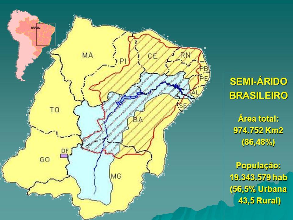 SEMI-ÁRIDO BRASILEIRO População: 19.343.579 hab (56,5% Urbana