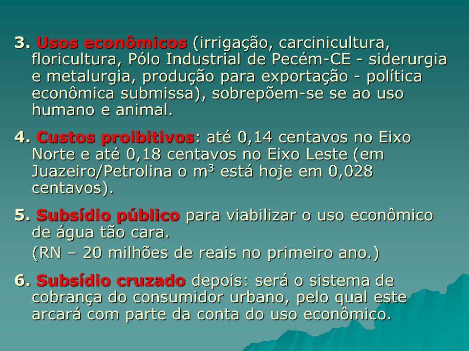 3. Usos econômicos (irrigação, carcinicultura, floricultura, Pólo Industrial de Pecém-CE - siderurgia e metalurgia, produção para exportação - política econômica submissa), sobrepõem-se se ao uso humano e animal.