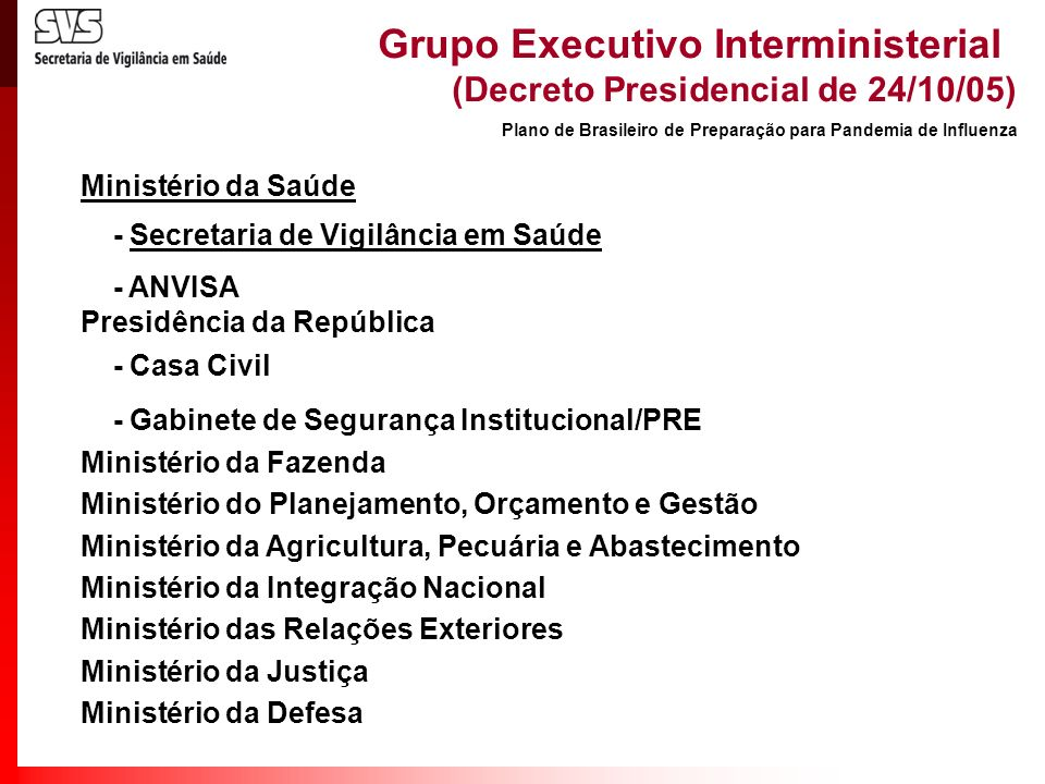Grupo Executivo Interministerial (Decreto Presidencial de 24/10/05)