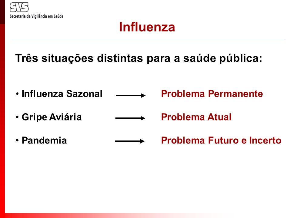 Influenza Três situações distintas para a saúde pública:
