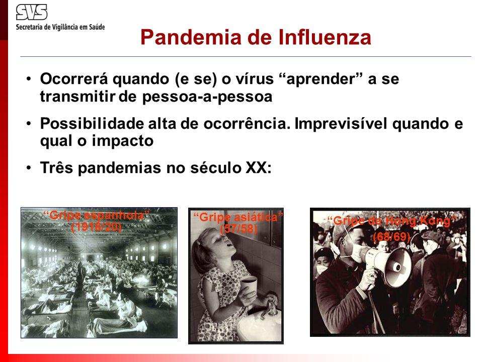 Pandemia de Influenza Ocorrerá quando (e se) o vírus aprender a se transmitir de pessoa-a-pessoa.