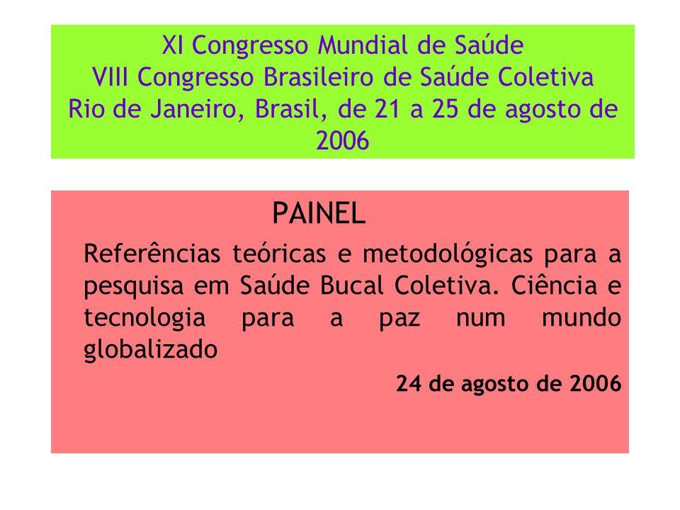 XI Congresso Mundial de Saúde VIII Congresso Brasileiro de Saúde Coletiva Rio de Janeiro, Brasil, de 21 a 25 de agosto de 2006