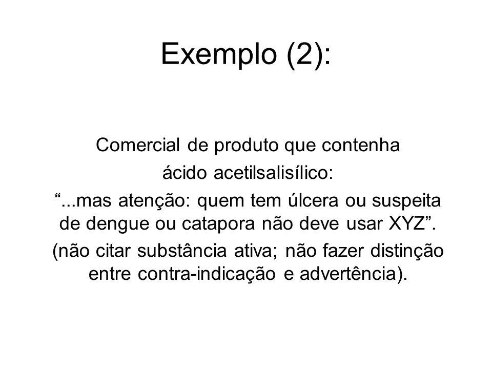 Exemplo (2): Comercial de produto que contenha ácido acetilsalisílico: