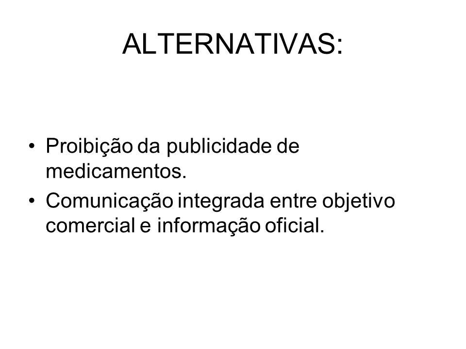 ALTERNATIVAS: Proibição da publicidade de medicamentos.