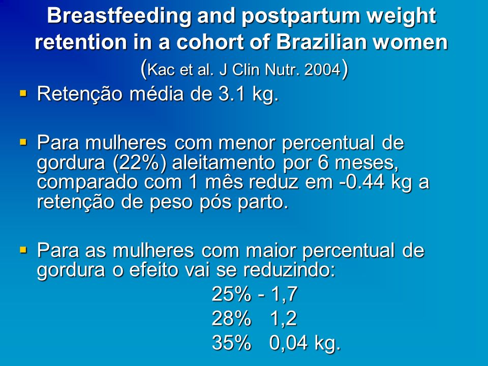 Breastfeeding and postpartum weight retention in a cohort of Brazilian women (Kac et al. J Clin Nutr. 2004)