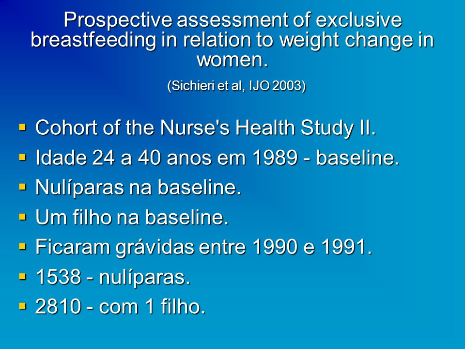 Prospective assessment of exclusive breastfeeding in relation to weight change in women. (Sichieri et al, IJO 2003)