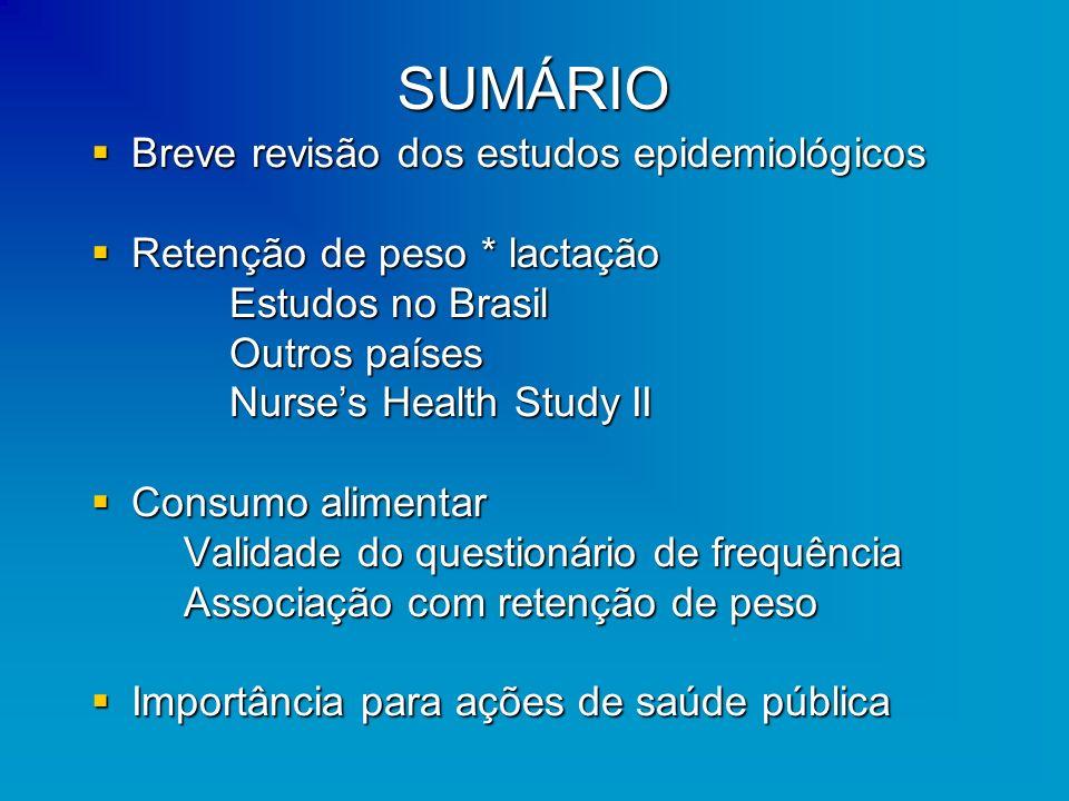 SUMÁRIO Breve revisão dos estudos epidemiológicos