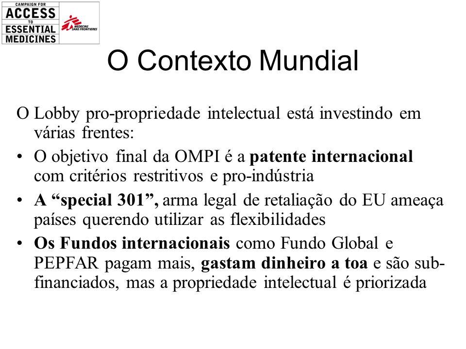 O Contexto Mundial O Lobby pro-propriedade intelectual está investindo em várias frentes:
