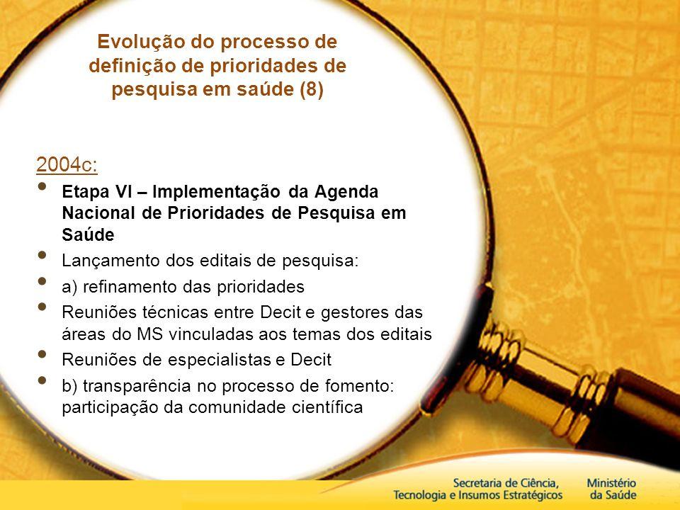 Evolução do processo de definição de prioridades de pesquisa em saúde (8)