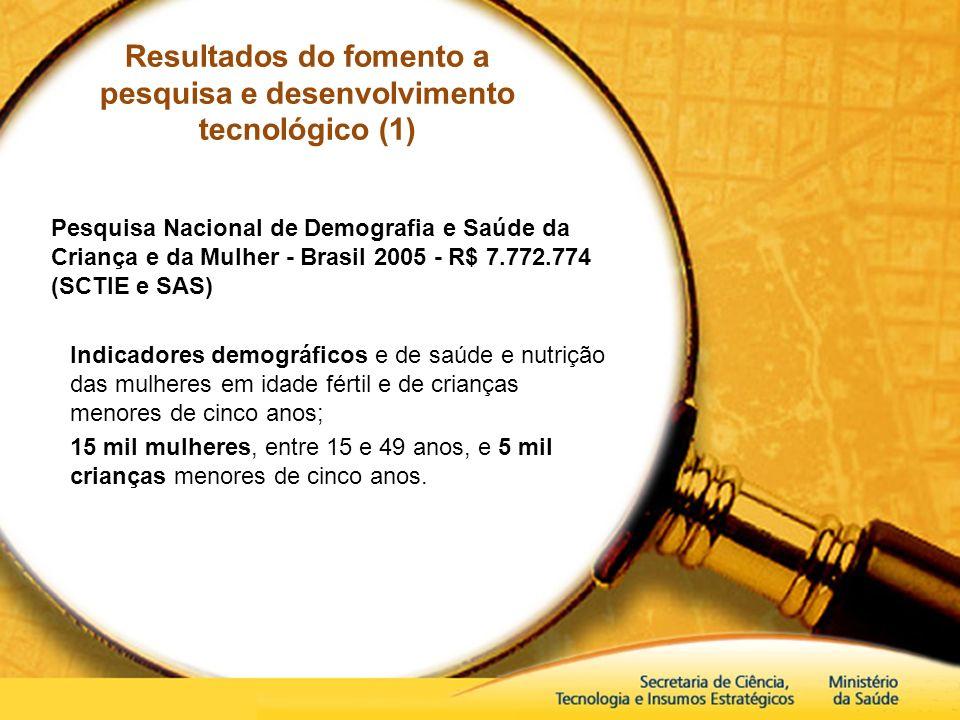 Resultados do fomento a pesquisa e desenvolvimento tecnológico (1)