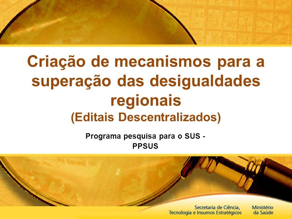Programa pesquisa para o SUS - PPSUS