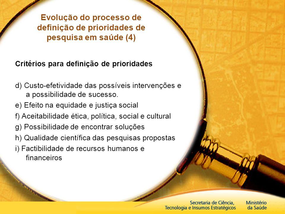 Evolução do processo de definição de prioridades de pesquisa em saúde (4)