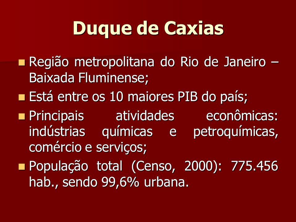 Duque de Caxias Região metropolitana do Rio de Janeiro – Baixada Fluminense; Está entre os 10 maiores PIB do país;