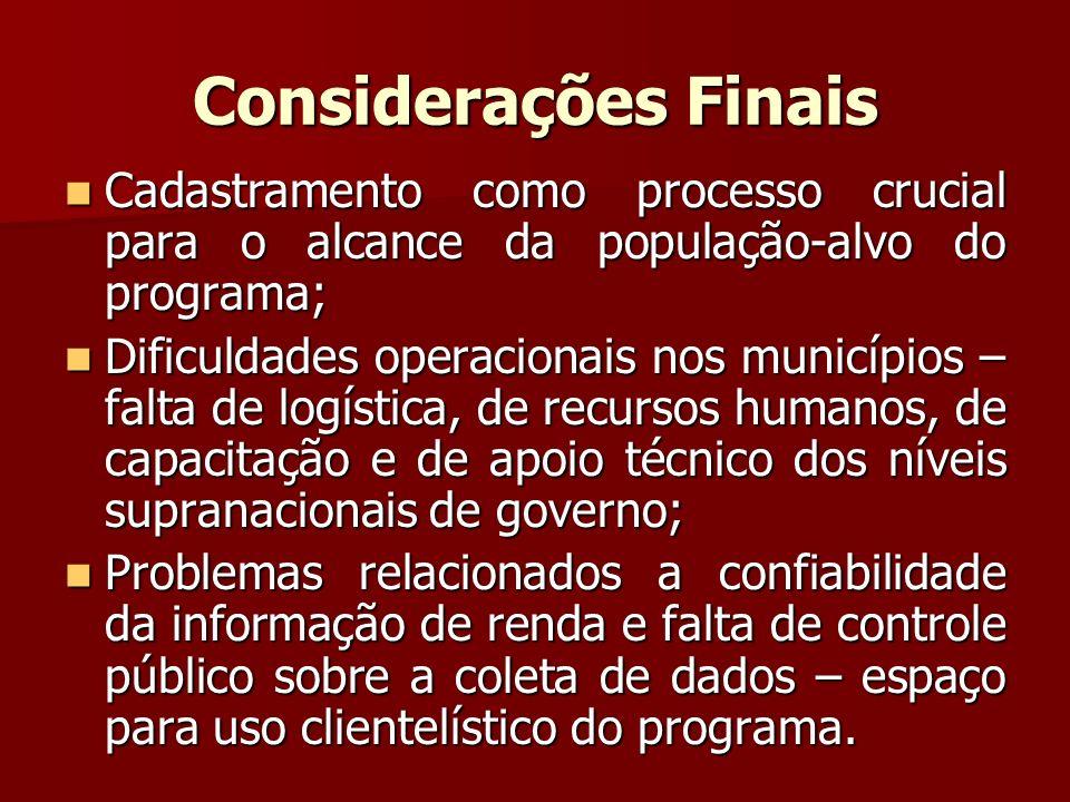 Considerações Finais Cadastramento como processo crucial para o alcance da população-alvo do programa;
