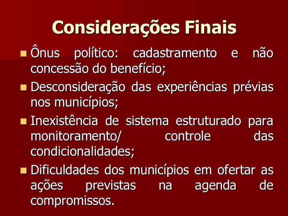Considerações Finais Ônus político: cadastramento e não concessão do benefício; Desconsideração das experiências prévias nos municípios;
