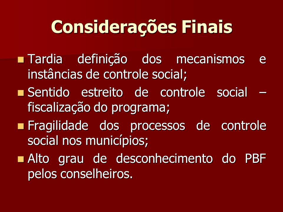 Considerações Finais Tardia definição dos mecanismos e instâncias de controle social;