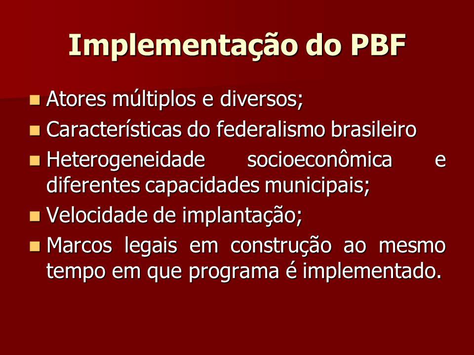 Implementação do PBF Atores múltiplos e diversos;
