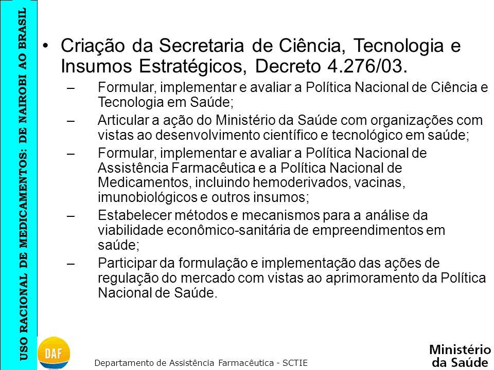 Criação da Secretaria de Ciência, Tecnologia e Insumos Estratégicos, Decreto 4.276/03.