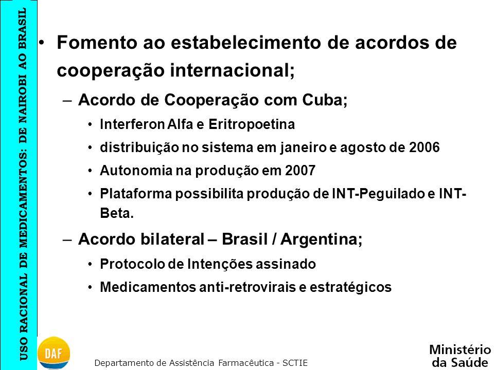 Fomento ao estabelecimento de acordos de cooperação internacional;