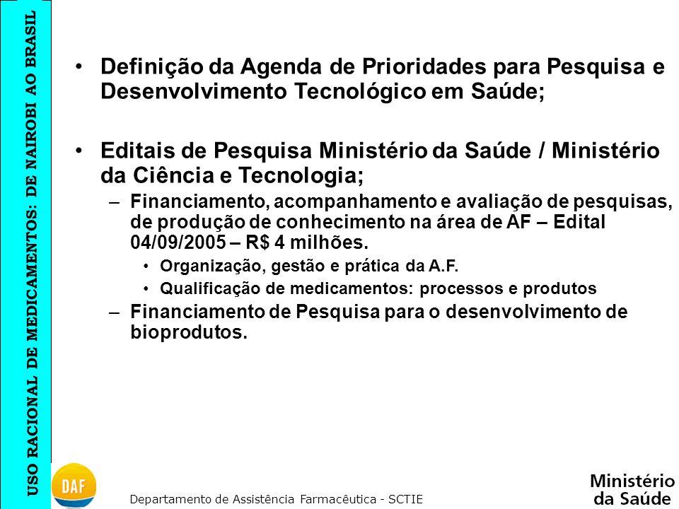 Definição da Agenda de Prioridades para Pesquisa e Desenvolvimento Tecnológico em Saúde;