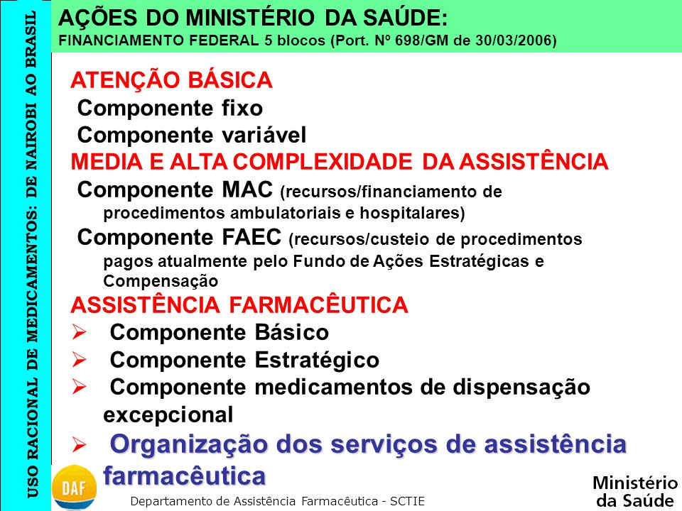 AÇÕES DO MINISTÉRIO DA SAÚDE: