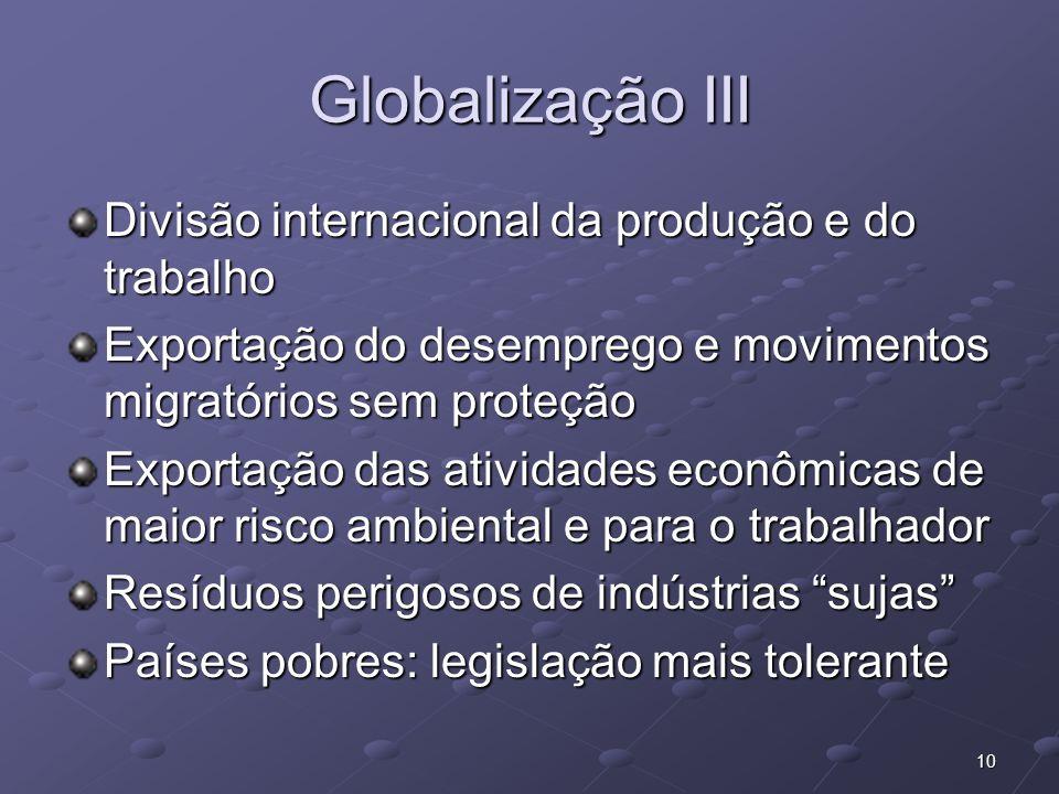 Globalização III Divisão internacional da produção e do trabalho