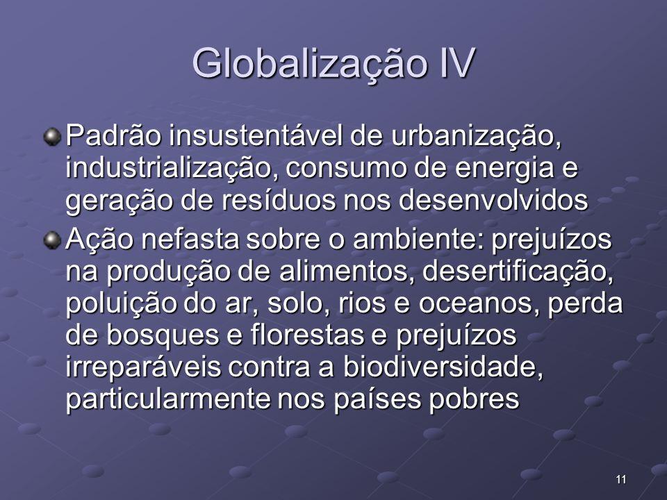 Globalização IV Padrão insustentável de urbanização, industrialização, consumo de energia e geração de resíduos nos desenvolvidos.