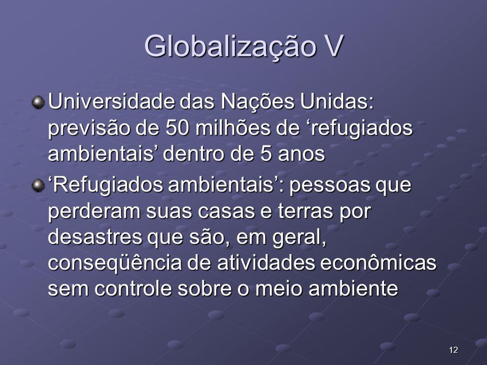 Globalização V Universidade das Nações Unidas: previsão de 50 milhões de 'refugiados ambientais' dentro de 5 anos.