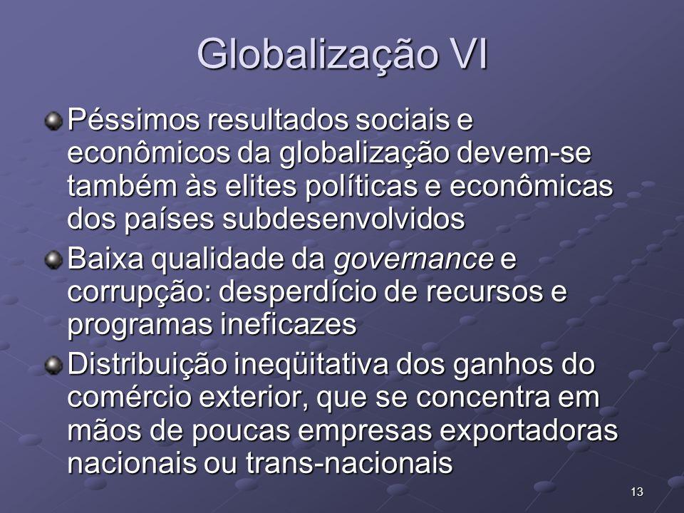 Globalização VIPéssimos resultados sociais e econômicos da globalização devem-se também às elites políticas e econômicas dos países subdesenvolvidos.