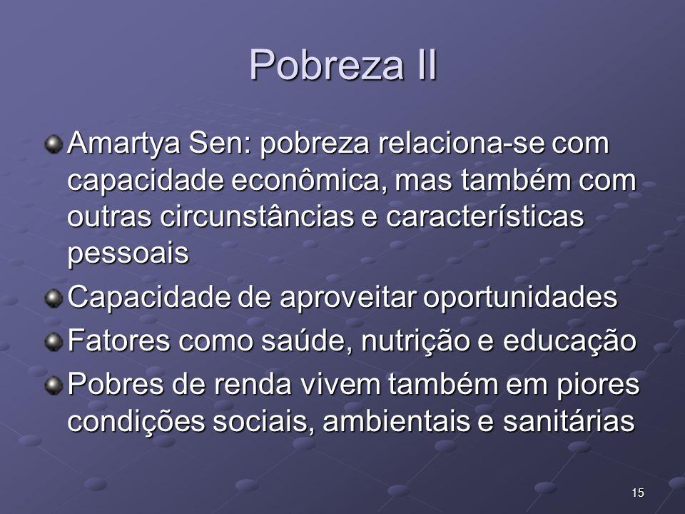 Pobreza IIAmartya Sen: pobreza relaciona-se com capacidade econômica, mas também com outras circunstâncias e características pessoais.