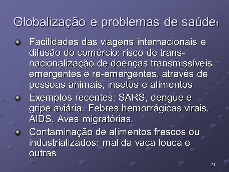 Globalização e problemas de saúde1