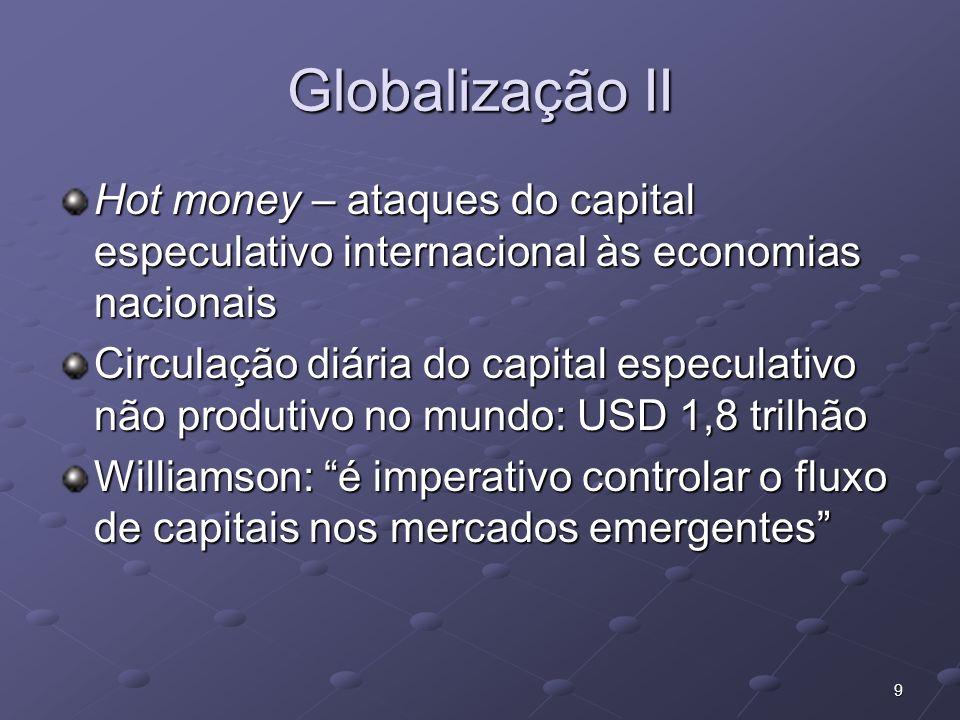 Globalização II Hot money – ataques do capital especulativo internacional às economias nacionais.
