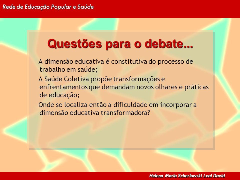 Questões para o debate... A dimensão educativa é constitutiva do processo de trabalho em saúde;