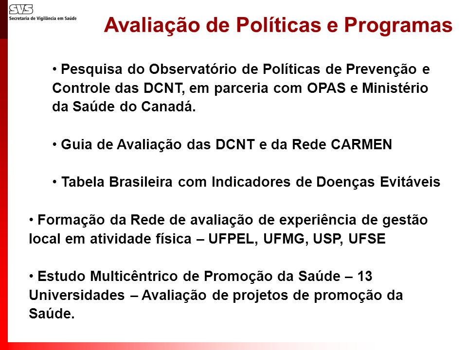 Avaliação de Políticas e Programas