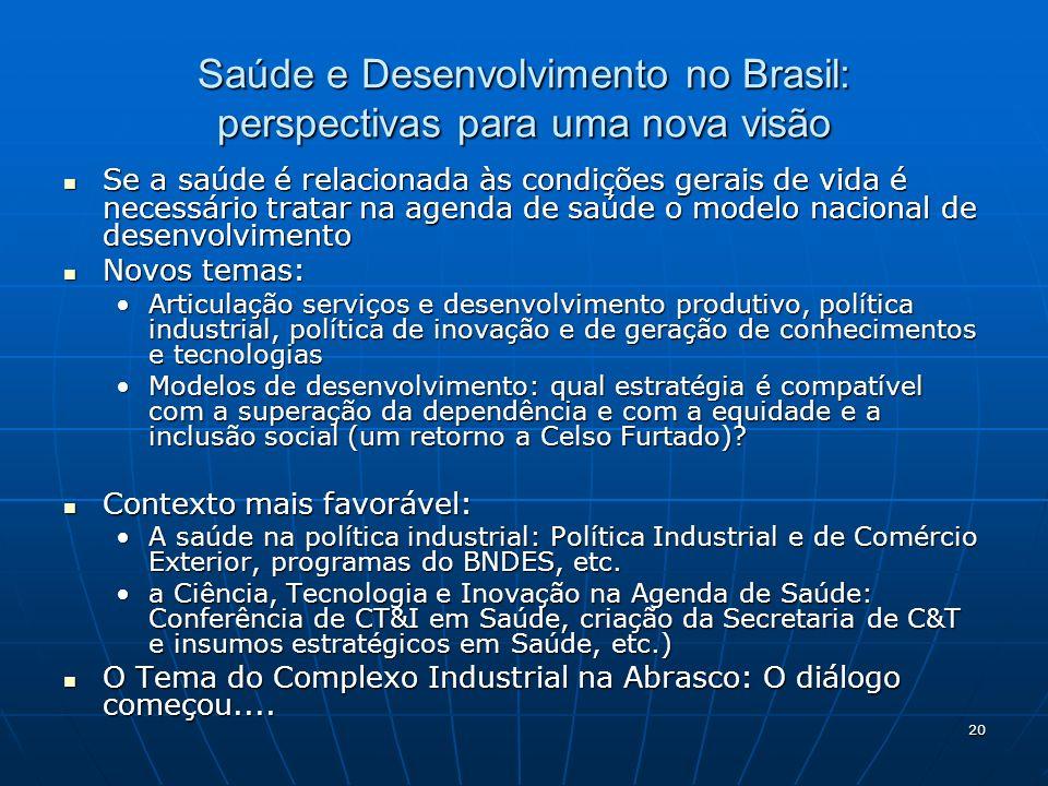 Saúde e Desenvolvimento no Brasil: perspectivas para uma nova visão