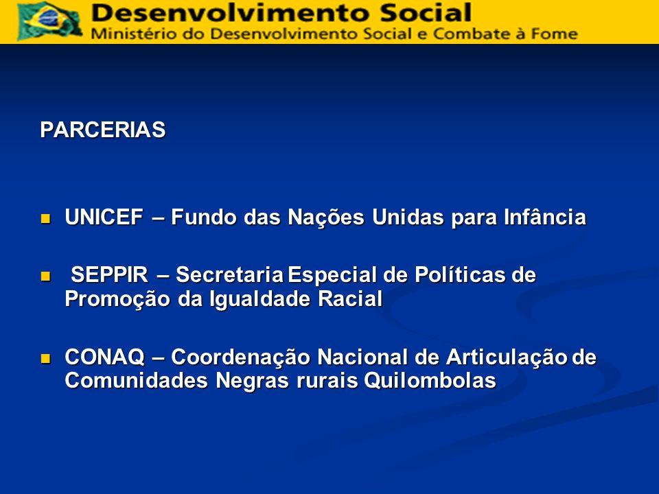 PARCERIAS UNICEF – Fundo das Nações Unidas para Infância. SEPPIR – Secretaria Especial de Políticas de Promoção da Igualdade Racial.