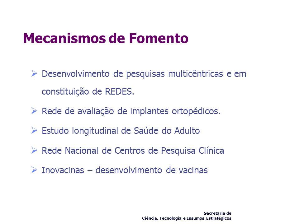 Mecanismos de Fomento Desenvolvimento de pesquisas multicêntricas e em constituição de REDES. Rede de avaliação de implantes ortopédicos.
