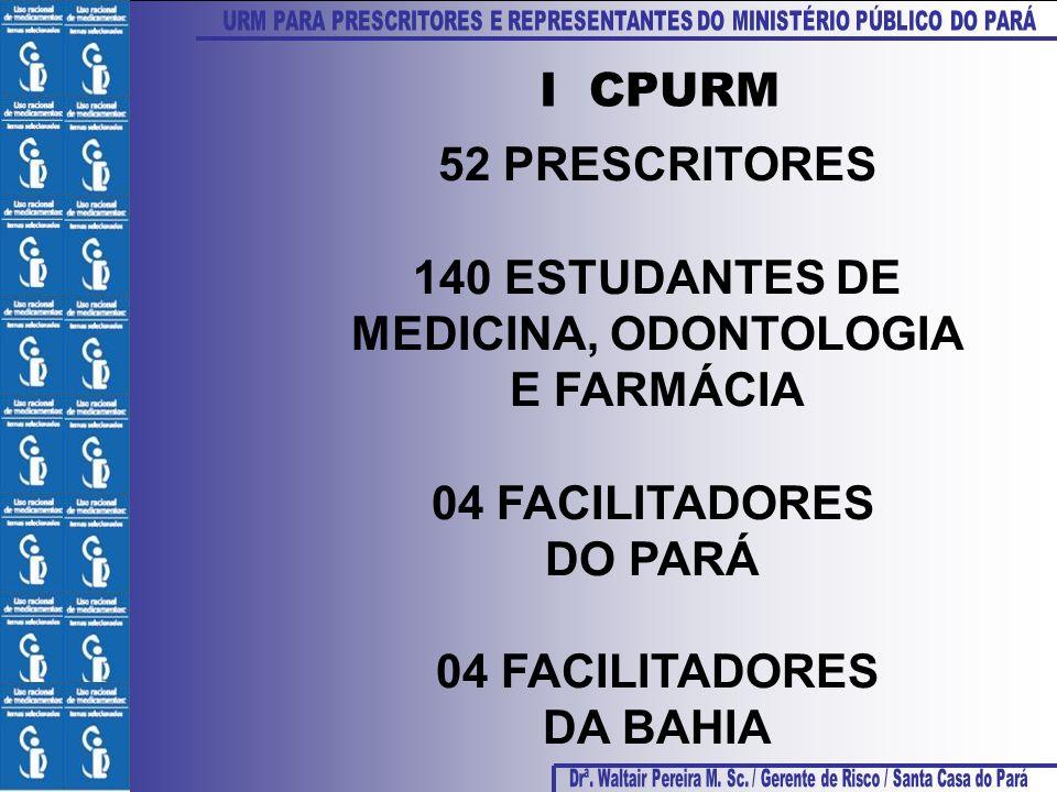 I CPURM 52 PRESCRITORES. 140 ESTUDANTES DE. MEDICINA, ODONTOLOGIA. E FARMÁCIA. 04 FACILITADORES.