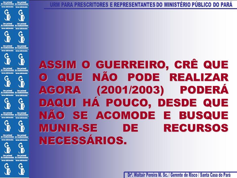 ASSIM O GUERREIRO, CRÊ QUE O QUE NÃO PODE REALIZAR AGORA (2001/2003) PODERÁ DAQUI HÁ POUCO, DESDE QUE NÃO SE ACOMODE E BUSQUE MUNIR-SE DE RECURSOS NECESSÁRIOS.