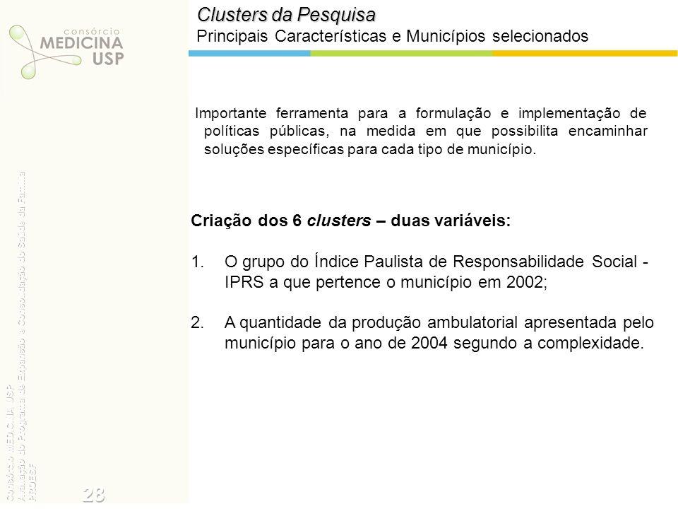 Clusters da Pesquisa Principais Características e Municípios selecionados.