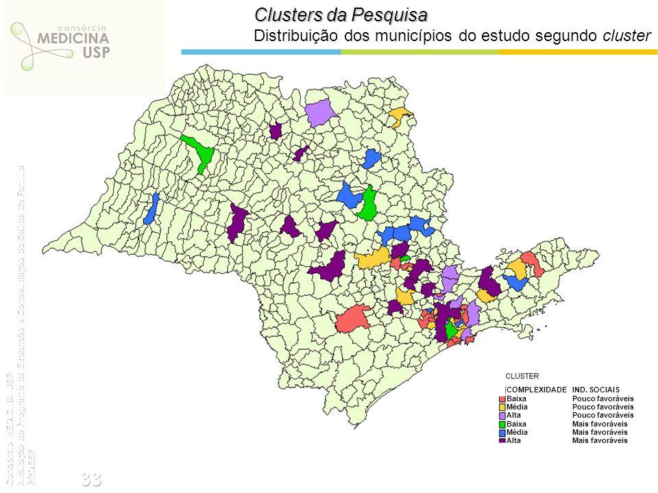 Clusters da Pesquisa Distribuição dos municípios do estudo segundo cluster.