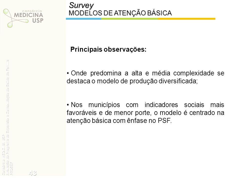Survey 43 MODELOS DE ATENÇÃO BÁSICA Principais observações: