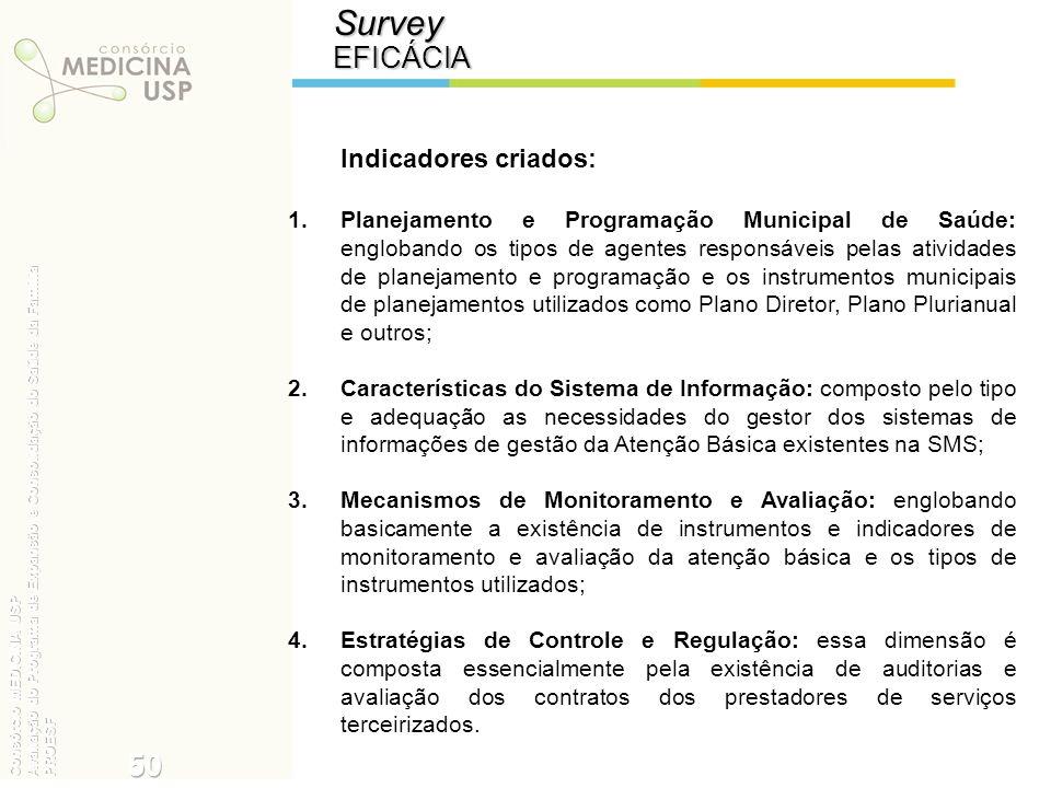 Survey 50 EFICÁCIA Indicadores criados:
